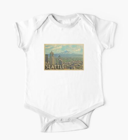 Seattle Vintage Travel T-shirt One Piece - Short Sleeve