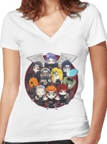 AKATSUKI CHIBI Women's Fitted V-Neck T-Shirt