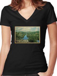 Virginia Vintage Travel T-shirt Women's Fitted V-Neck T-Shirt