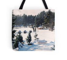 Snow Bench for Us Tote Bag