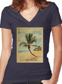 St. Croix Vintage Travel T-shirt - Beach Women's Fitted V-Neck T-Shirt