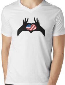 Hands Heart Symbol United States American Flag Mens V-Neck T-Shirt