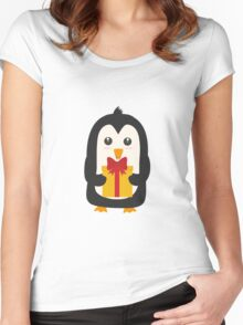 Penguin with Presentbox Women's Fitted Scoop T-Shirt