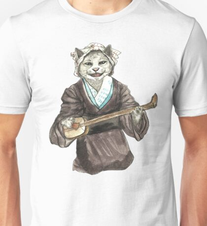 A Singing Cat Playing Samisen Unisex T-Shirt