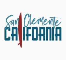 San Clemente California T-shirt - Surfboard One Piece - Short Sleeve