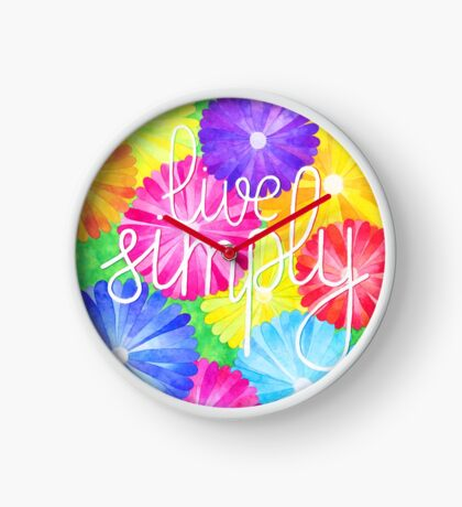 Watercolor motivational art - flowers and quote Live simply Clock