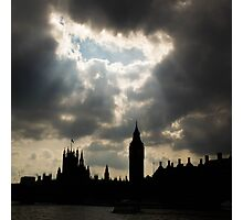Rays of sunlight over London's Big Ben Photographic Print