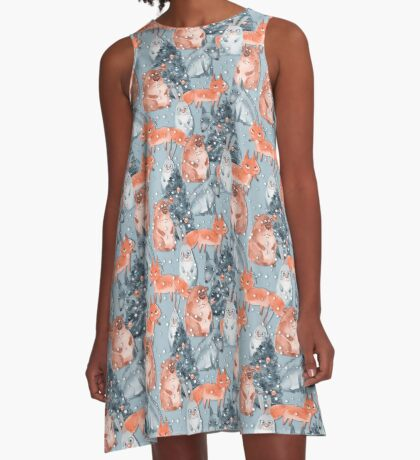 Holiday pattern with animals 5 A-Line Dress