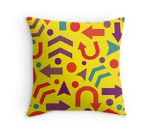 Yellow direction pattern Throw Pillow