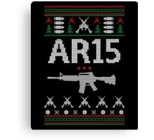 Ar15 Ugly Christmas Sweater, Funny Men Women AR 15 Gun Lovers Gift Canvas Print