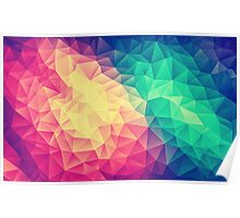 Abstract Polygon Multi Color Cubism Triangle Design Poster