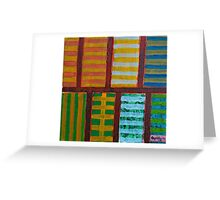 Beautiful Stripes Pattern within a Pink Grid  Greeting Card