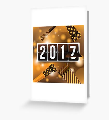 2017 New Year's mechanical flip numbers and party blowers design Greeting Card