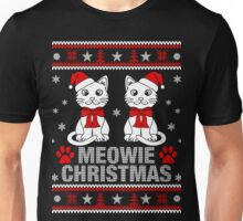 Funny Cat Lovers Gift T-Shirt, Meowy Cat Ugly Christmas Sweater T-Shirt Unisex T-Shirt
