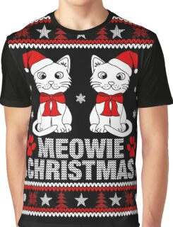 Funny Cat Lovers Gift T-Shirt, Meowy Cat Ugly Christmas Sweater T-Shirt Graphic T-Shirt