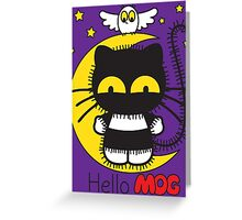 Hello Mog - Purple Greeting Card