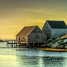 Fishing Shacks at Sunset by kenmo