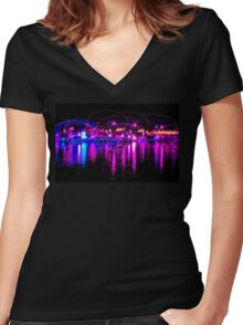 Dancing Lights two Women's Fitted V-Neck T-Shirt