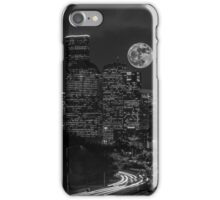 Supermoon over Downtown Houston, TX B/W iPhone Case/Skin