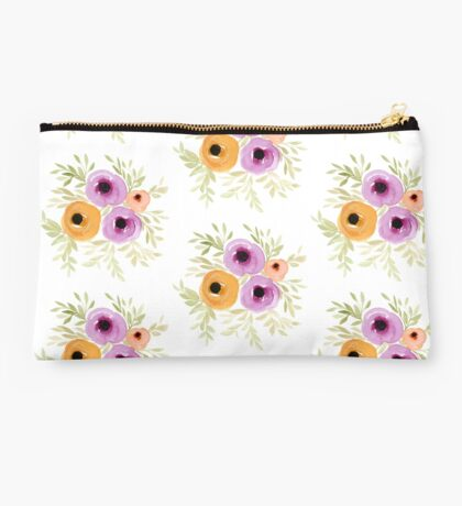 Spring Blooms - Watercolor Floral Studio Pouch