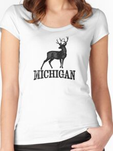 Michigan T-shirt - Stag Deer Women's Fitted Scoop T-Shirt