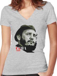 fidel castro Women's Fitted V-Neck T-Shirt