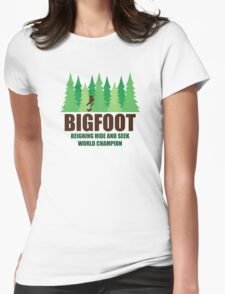 Bigfoot Sasquatch Hide and Seek World Champion Womens Fitted T-Shirt