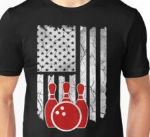 Bowling, American Flag T-Shirt Unisex T-Shirt