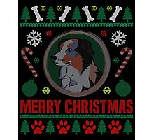 Australian Shepherd Dog Breed Ugly Christmas Sweater T-Shirt Photographic Print
