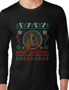 Basset Hound Dog Ugly Christmas Sweater T-Shirt, Funny Men Women Love Dog T-Shirt Long Sleeve T-Shirt