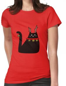 Reindeer Black Cat Womens Fitted T-Shirt