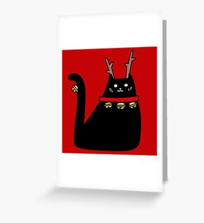Reindeer Black Cat Greeting Card
