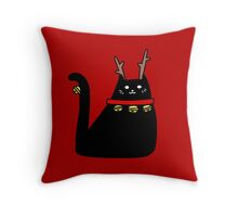 Reindeer Black Cat Throw Pillow
