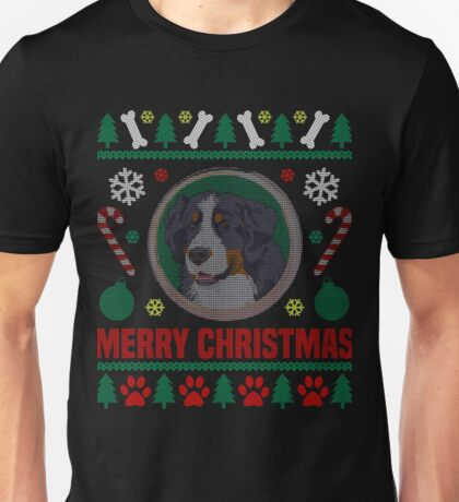 Bernese Mountain Dog Ugly Christmas Sweater, Funny Dog T-Shirt Unisex T-Shirt