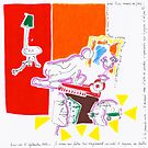 Night Drawings - Les Dessins de Nuit n°58  - Interieur Rouge  by Pascale Baud