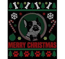 Boston Terrier Dog Ugly Christmas Sweater T-Shirt, Funny Men Women Christmas Gift Shirt Photographic Print