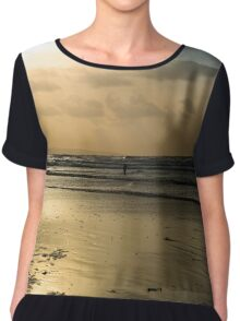 lone surfer on the winter waves Chiffon Top