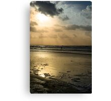lone surfer on the winter waves Canvas Print