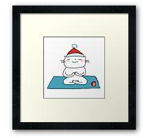 Christmas time ... just breathe yoga / Cat doodles Framed Print