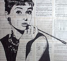 old book drawing famous people Audrey by Krzyzanowski Art