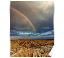 Rainbow over Badlands National Park Poster