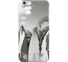 B&W Surfboard Fence Paia iPhone Case/Skin