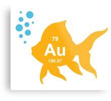 Periodic Table Elemental Gold Fish Metal Print