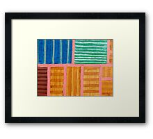 Beautiful Stripes Pattern within a Pink Grid  Framed Print