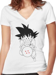 Goku and ball Women's Fitted V-Neck T-Shirt