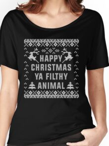 Happy Christmas Ya Filthy Animal T-Shirt, Ugly Christmas Sweater Gift T-Shirt Women's Relaxed Fit T-Shirt
