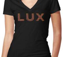 LUX Nightclub Logo Women's Fitted V-Neck T-Shirt