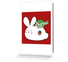 Strawberry Bunny and Tiny Turtle Greeting Card