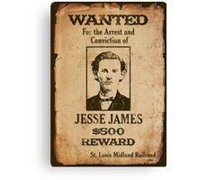 Jesse James Wanted Poster Canvas Print