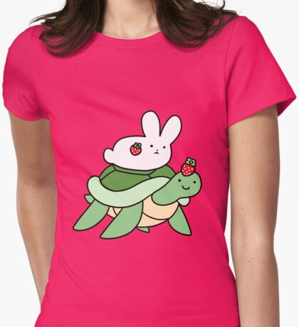 Strawberry Turtle and White Bunny Womens Fitted T-Shirt